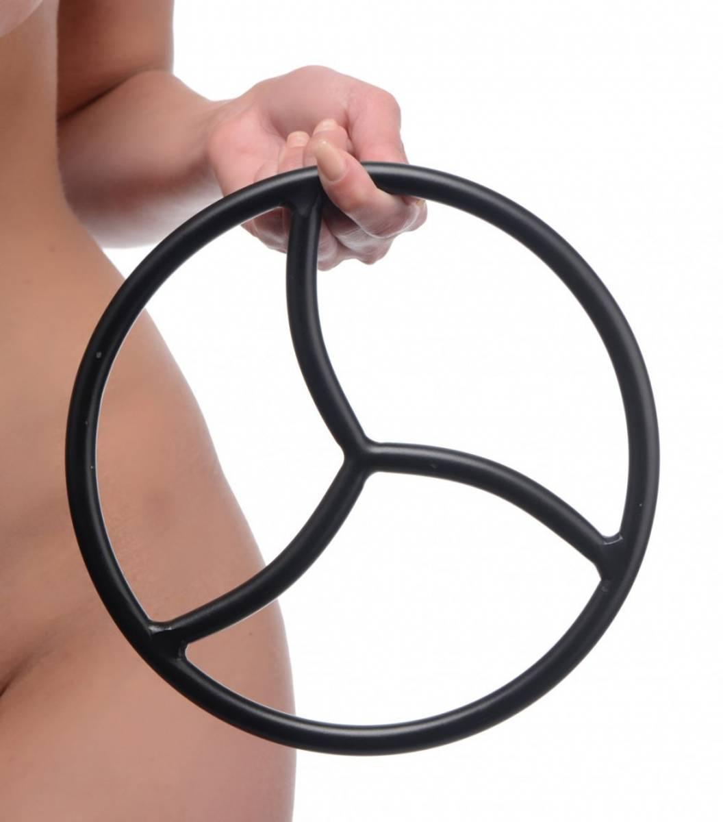Shibari Ring i Stål - 22cm - Triskelion - Sort