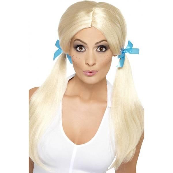 Bilde av Sassy Schoolgirl Pigtails Wig, lys blond