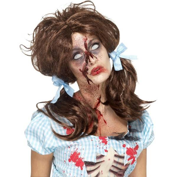 Bilde av Zombie Bloody Country Girl Wig, brun