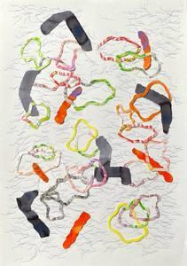 Bilde av Kristine Vintervold, Tegning i orange og blått