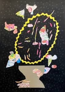 Bilde av Kristine Vintervold, Tegning i svart og gult