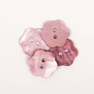Bilde av Perlemor blomsterknapp, rosa - 15 mm