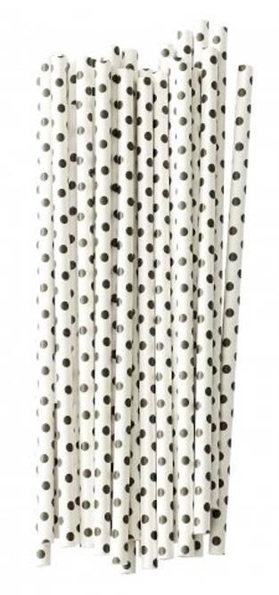Bilde av Paper straw dots black (pack