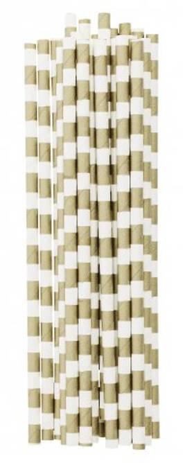 Bilde av Paper straw new gold stripe