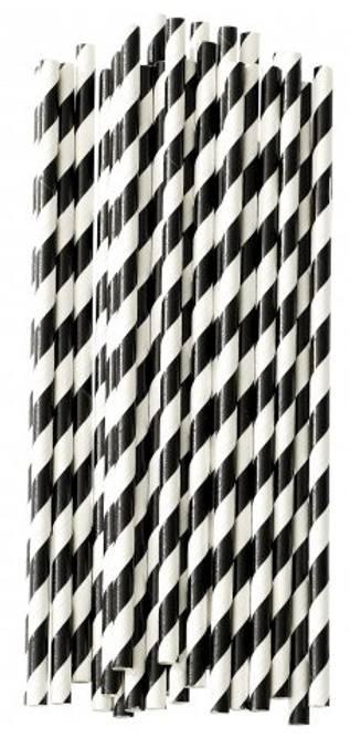 Bilde av Paper straw stripe blk/wht