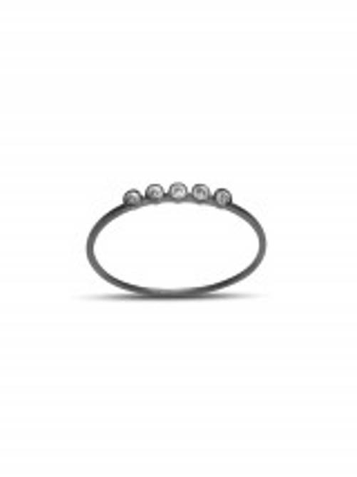 Bilde av Ring i rhodineret sølv med 5