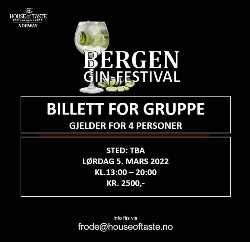 Bilde av BERGEN GIN-FESTIVAL 2022 - Gruppebillett - lørdag 5. mars 2022