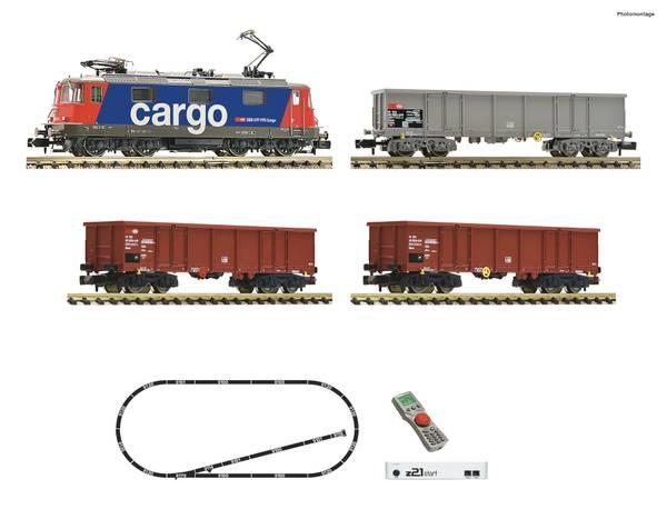 Bilde av Fleischmann N-skala - Digitalt startsett, SBB RE420 med godstog