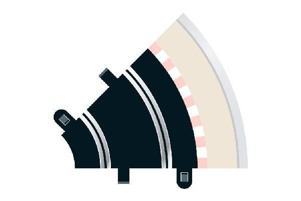 Bilde av Scalextric - Buet skinne R1. 45°, 2 stk