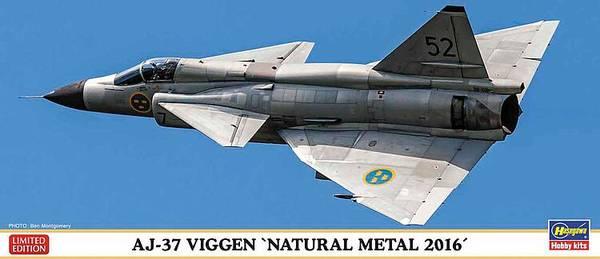 Bilde av Hasegawa - 1/72 AJ-37 Viggen, Natural Metal