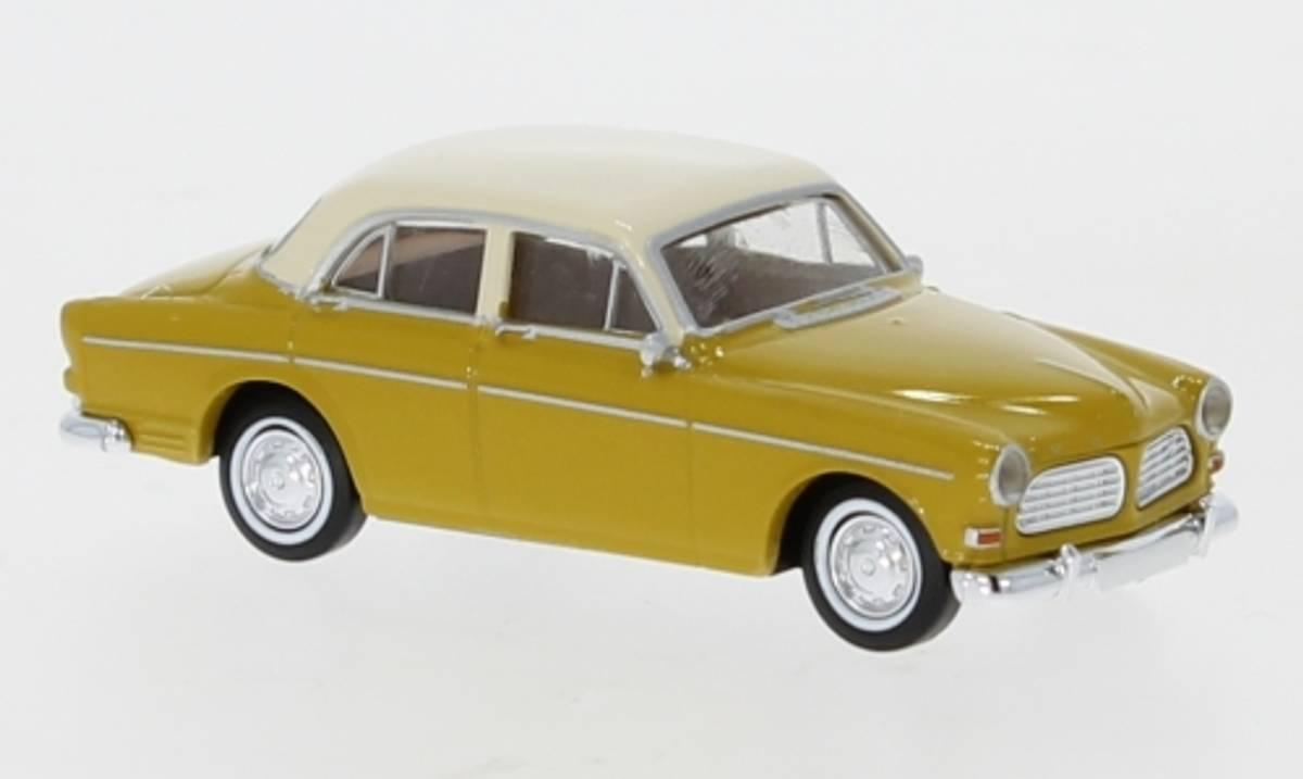 Brekina - Volvo Amazon, 4-dørs gul/hvit