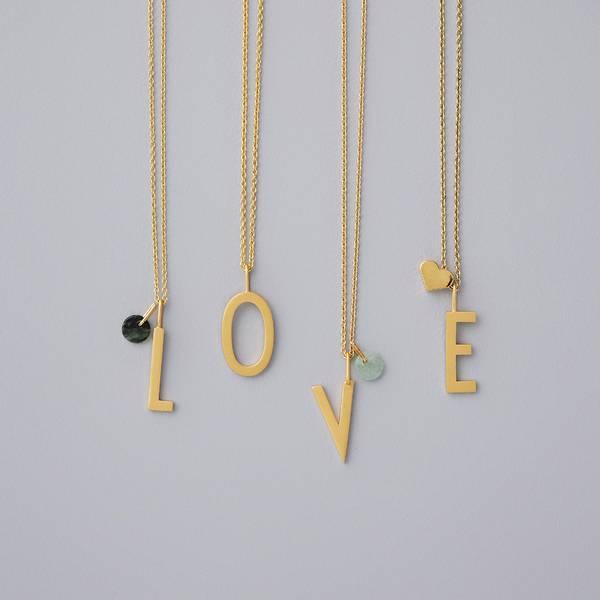 Design letters bokstav anheng 16 mm.  forgylt med 18K gull over