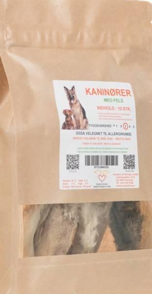 Barf Kaninører med pels 10 stk.