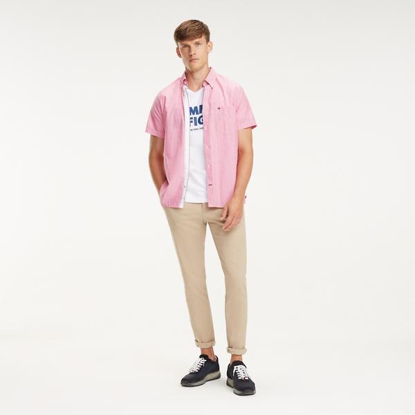 Tommy Hilfiger Fine Stripe Shirt Lilac Rose Multi