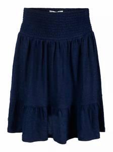 Bilde av Haust Collection Elastic Waist Linen Skirt Navy