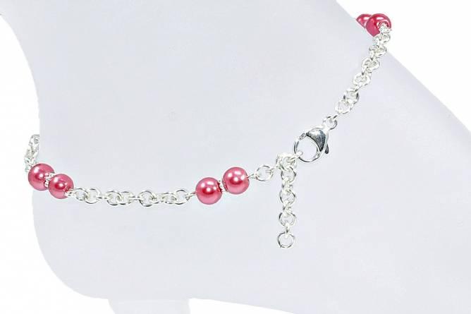 Bilde av Sølv ankellenke med rosa perler