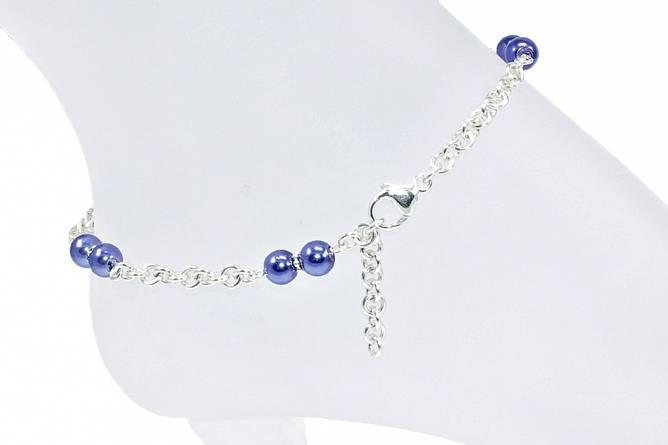 Bilde av Sølv ankellenke med blå perler