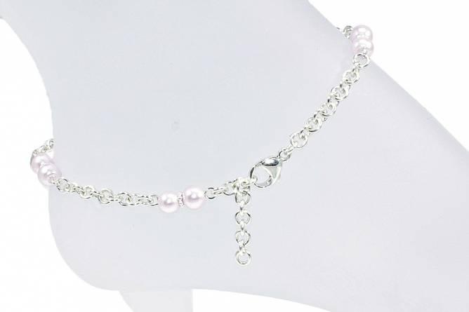 Bilde av Sølv ankellenke med lys lilla perler