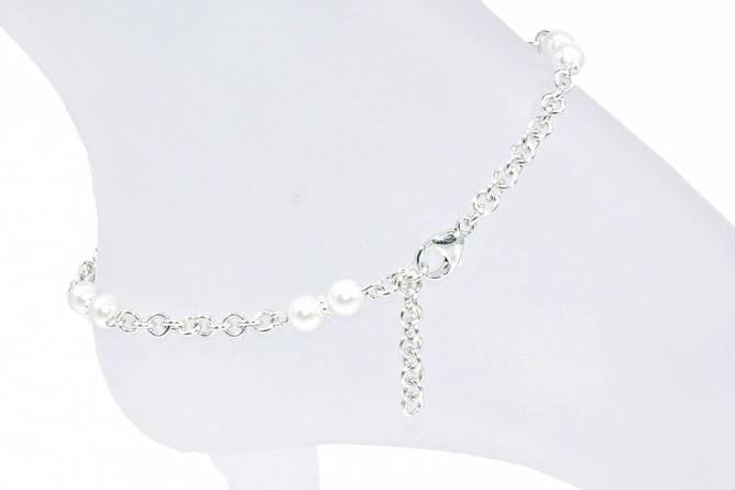 Bilde av Sølv ankellenke med hvite perler
