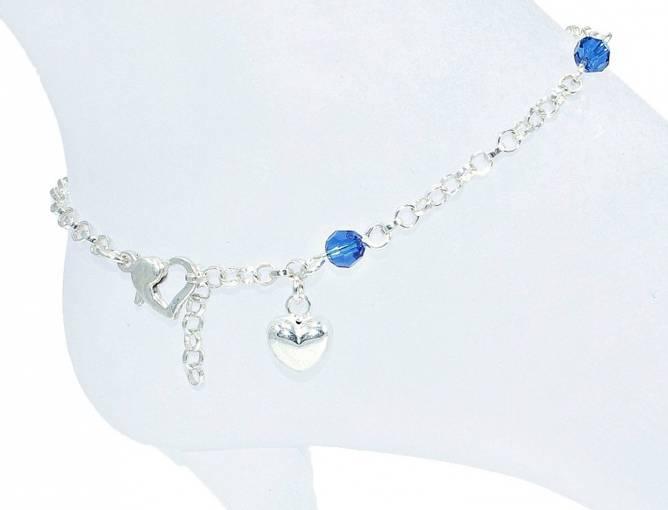 Bilde av Sølv ankellenke med blå krystaller