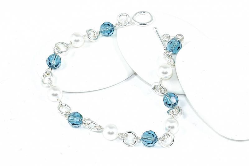 Bilde av Armbånd med blågrønne krystaller
