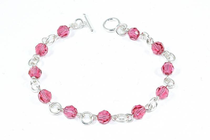 Bilde av Sølv armbånd med rosa krystaller