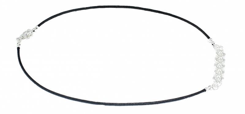 Bilde av Sølv halssmykke med sorte snorer