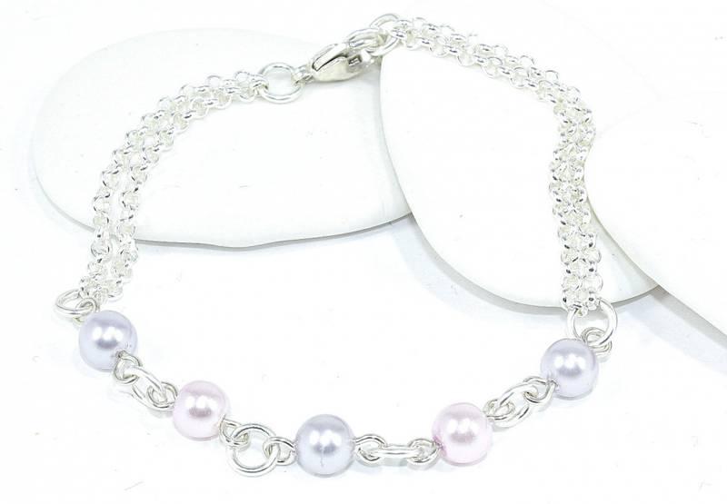 Bilde av Sølv armbånd i rosa og lilla