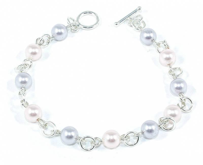 Bilde av Sølv armbånd med lilla og rosa perler