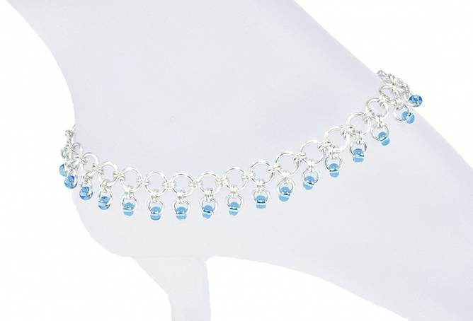 Bilde av Ankellenke i sølv med blå perler