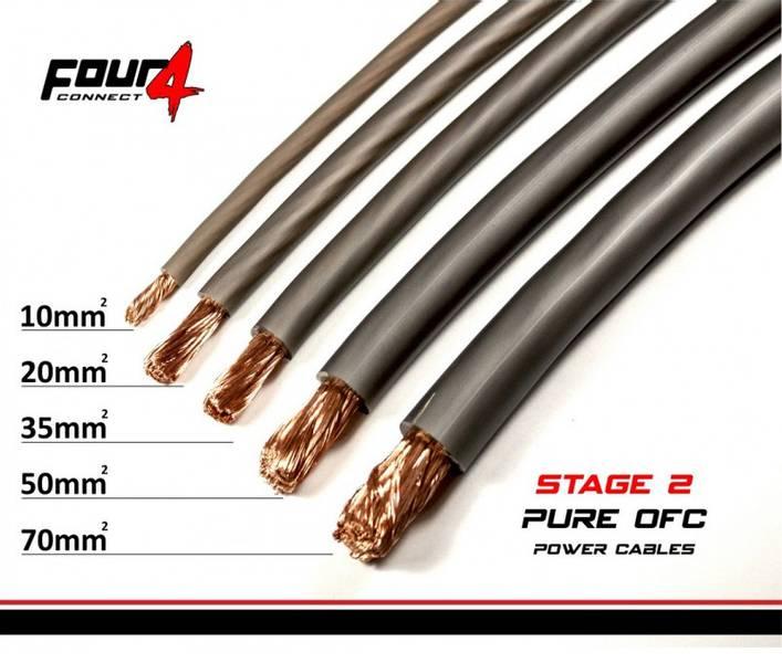 4 CONNECT 10mm2 Sølv 1meter