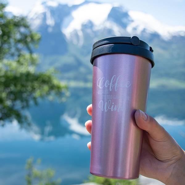Bilde av Termo Kaffekopp TO GO 500ml - Sparkling Pink -Too early for Wine