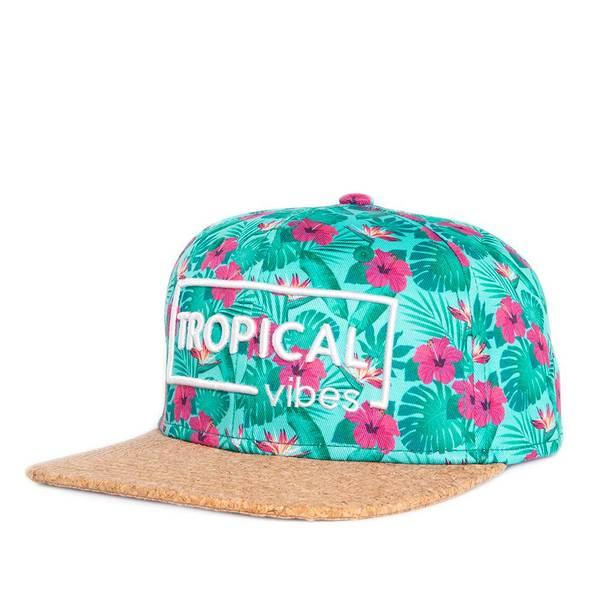 Bilde av Flat Snapback Caps Kork - Tropical Grønn