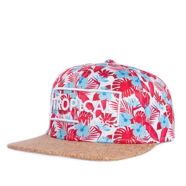 Bilde av Flat Snapback Caps Kork - Tropical Rød