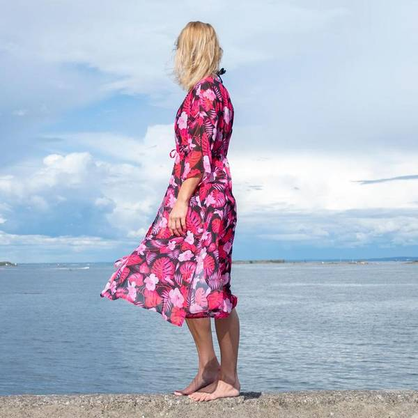 Bilde av Kimono Tropical Vibes Rosa & Sort