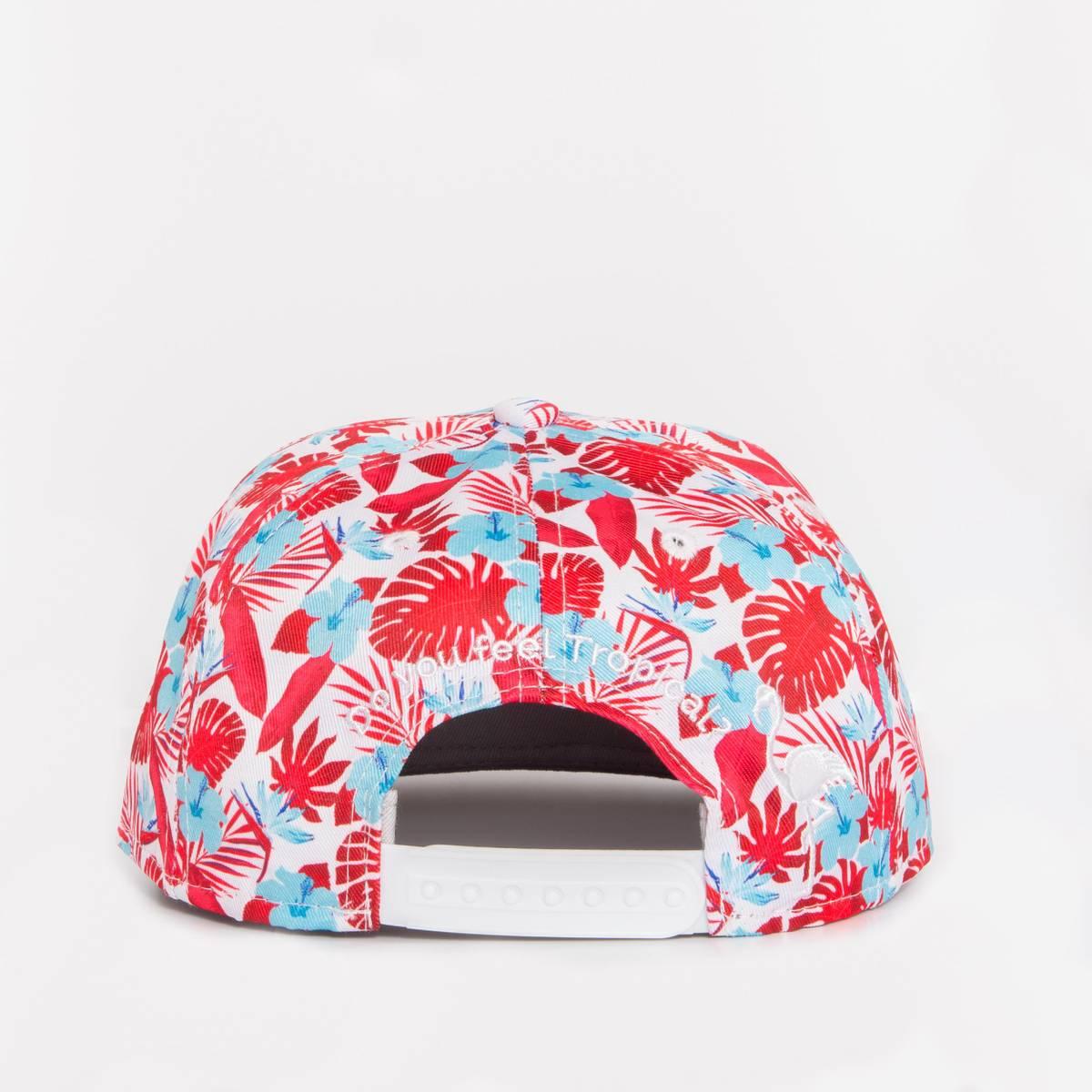 Flat Snapback Caps Kork - Tropical Rød