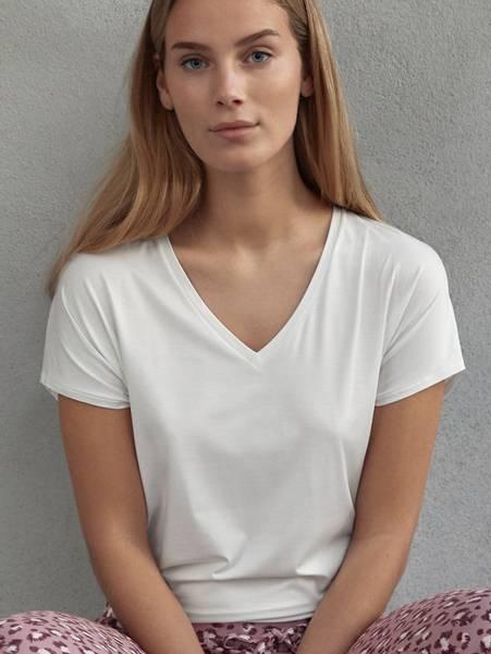 Bilde av Calida MicroModal Shirt SS, Str 36-50, Star White