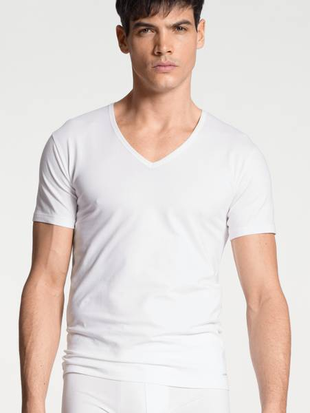 Bilde av Calida Cotton Code V-Shirt, Str  S-XXL, White
