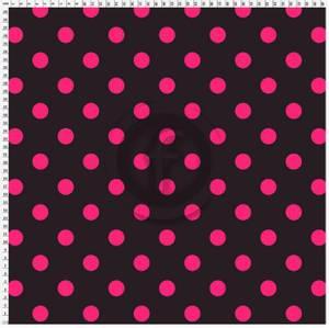 Bilde av Badetøystoff lycra sort med rosa prikker