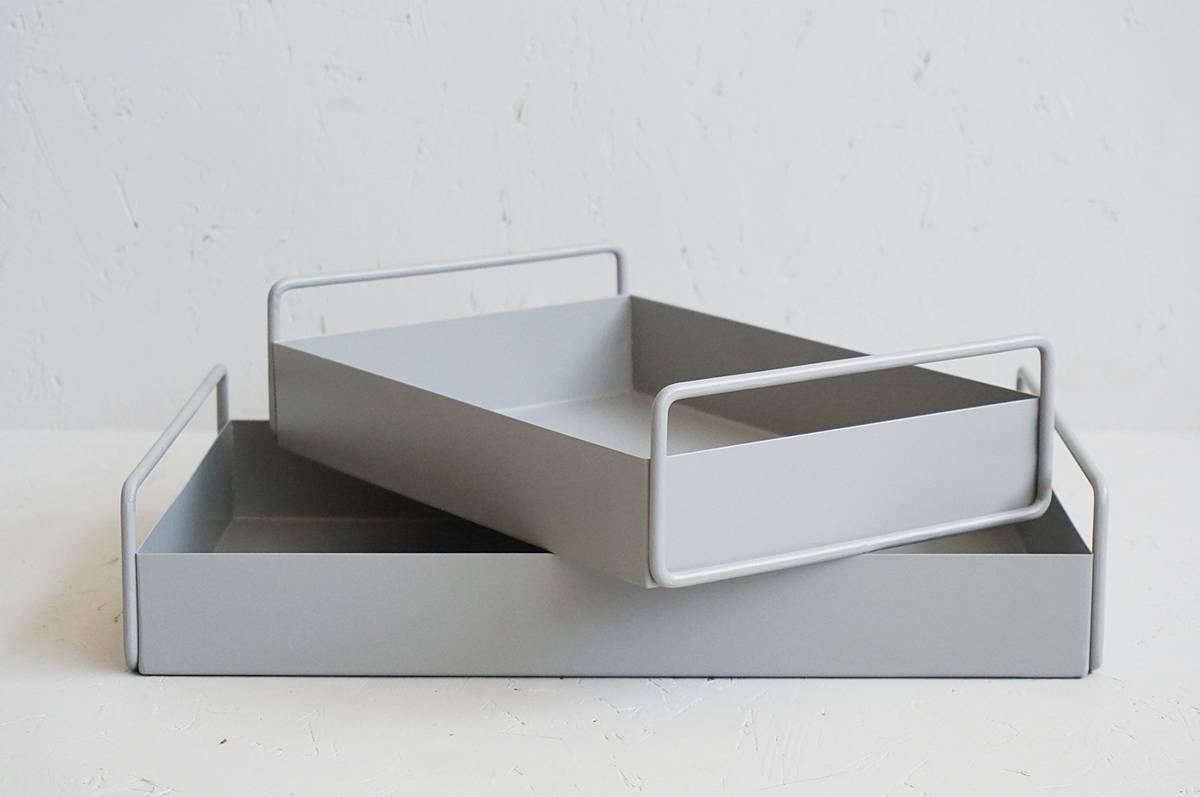 Metallfat, grå, sett av 2