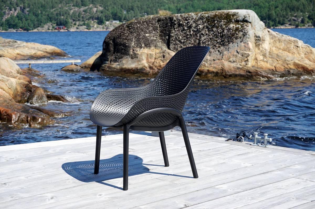 Stolsett | 2 stk stoler inkl bord, sort