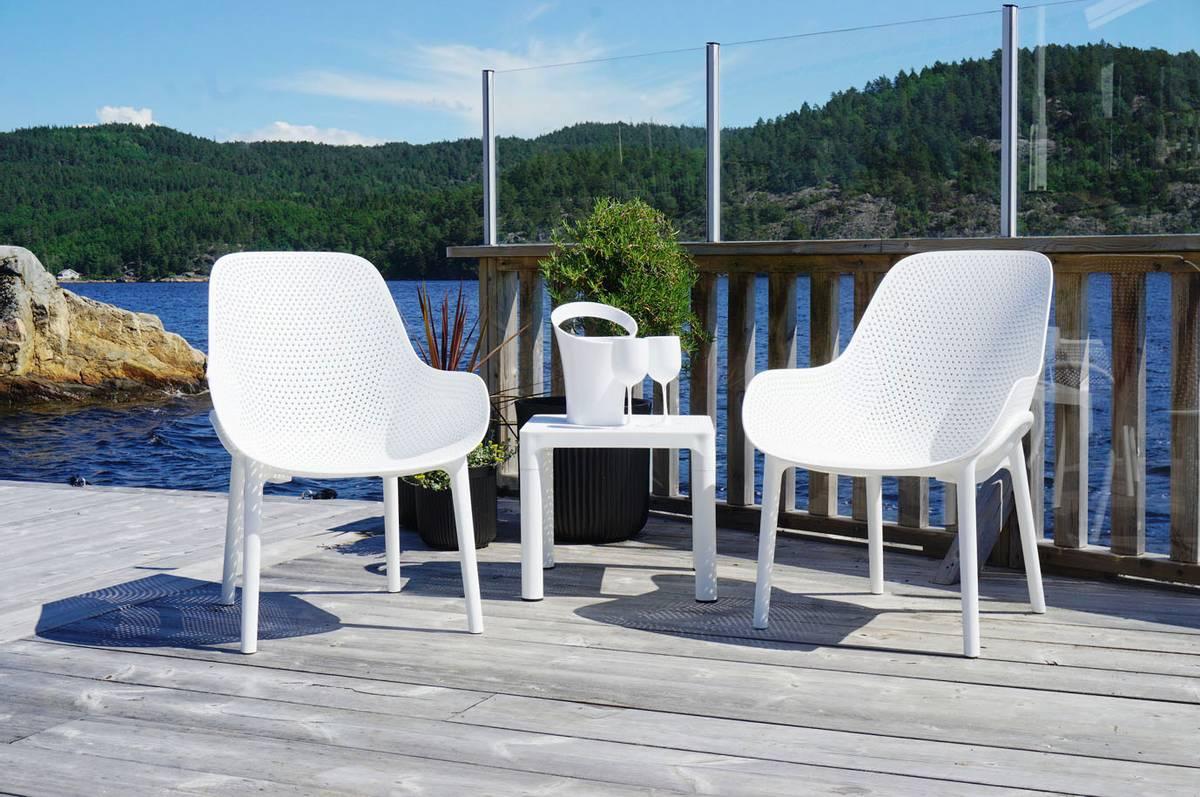 Stolsett | 2 stk stoler inkl bord, hvit