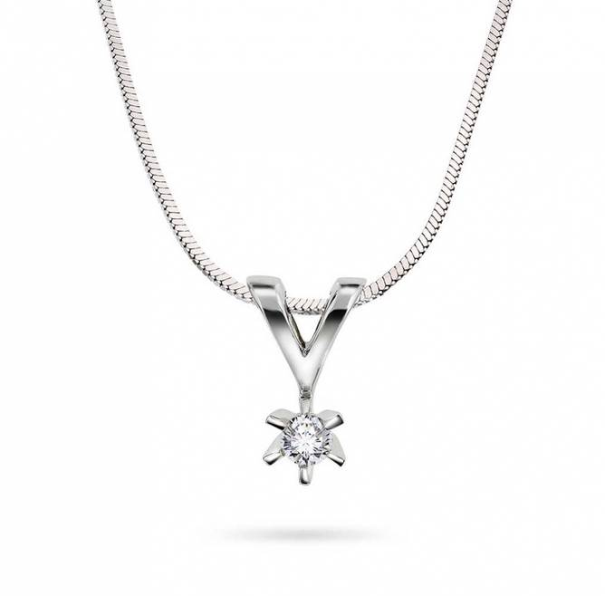 Bilde av Enstens diamantsmykke i hvitt gull 0,05ct