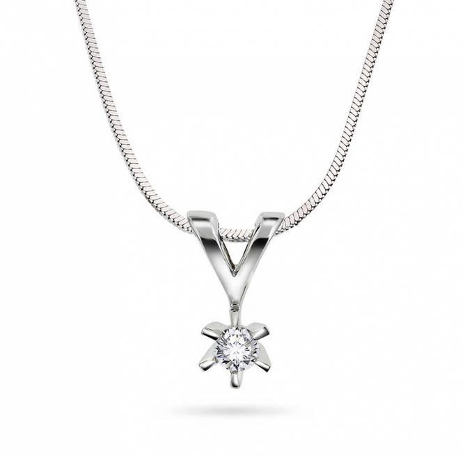Bilde av Enstens diamantsmykke i hvitt gull 0,10ct