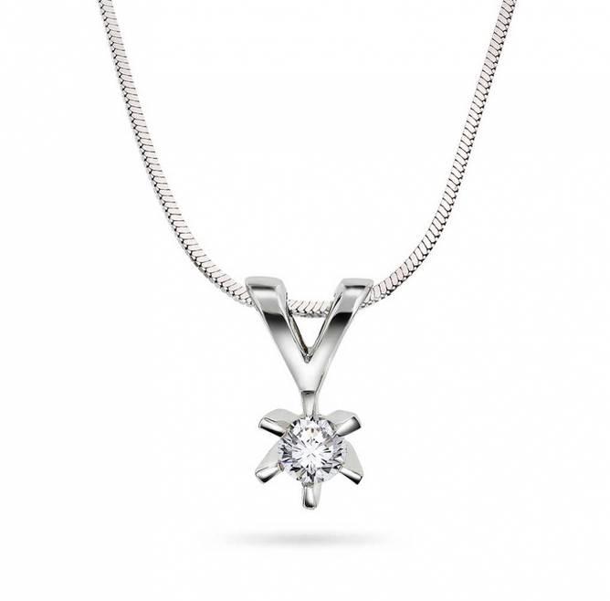 Bilde av Enstens diamantsmykke i hvitt gull 0,15ct