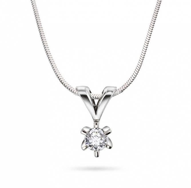 Bilde av Enstens diamantsmykke i hvitt gull 0,20ct