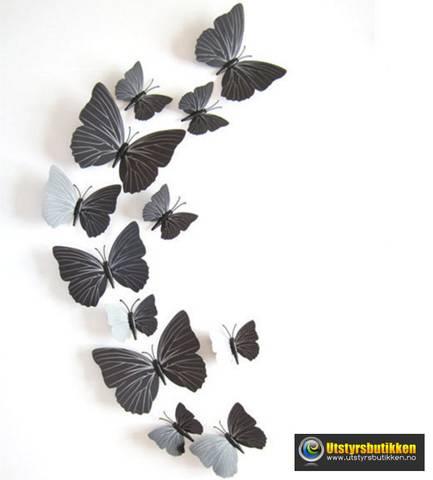 Bilde av 3D Sommerfugler med magnet - 12 stk sorte