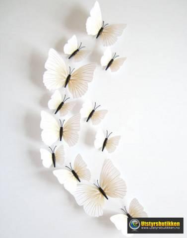 Bilde av 3D Sommerfugler med magnet - 12 stk hvite
