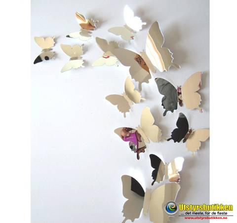 Bilde av 3D Sommerfugler med speil - 12 stk