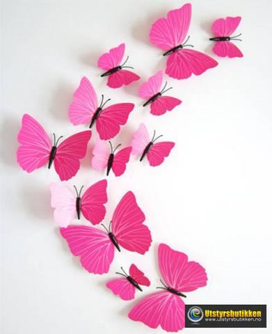 Bilde av 3D Sommerfugler med magnet - 12 stk rosa